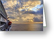 Cloudscape Photographs Greeting Cards - Leaving Cozumel Behind Greeting Card by Jason Politte