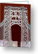 Gw Bridge Greeting Cards - Leaving New York Greeting Card by RC DeWinter
