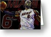 Gold Greeting Cards - LeBron James Greeting Card by Maria Arango