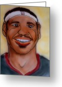 Miami Drawings Greeting Cards - Lebron James Greeting Card by Pete Maier