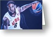 Lebron Greeting Cards - Lebron James Portrait Greeting Card by Mikayla Henderson