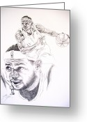 All Star Drawings Greeting Cards - Lebron Greeting Card by Otis  Cobb