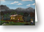 Wooden Home Greeting Cards - Lecheon A La Bara Greeting Card by Gloria E Barreto-Rodriguez
