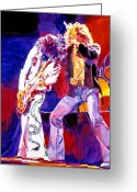 Concert Painting Greeting Cards - Led Zeppelin - Page and  Plant Greeting Card by David Lloyd Glover