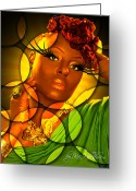 Dreadlocks Greeting Cards - Ledesi Greeting Card by Kia Kelliebrew