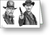 Western Pencil Drawing Greeting Cards - Lee Marvin-Lee Van Cleef Greeting Card by Murphy Elliott