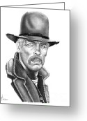 Cowboy Pencil Drawing Greeting Cards - Lee Marvin Greeting Card by Murphy Elliott