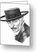Cowboy Pencil Drawing Greeting Cards - Lee Van Cleef Greeting Card by Murphy Elliott