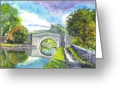 Canal Drawings Greeting Cards - Leeds Canal Liverpool Greeting Card by Carol Wisniewski