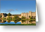 Water Reflections Greeting Cards - Leeds Castle and Moat Reflections Greeting Card by Chris Thaxter