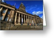 Town Hall Greeting Cards - Leeds Town Hall Greeting Card by Yhun Suarez