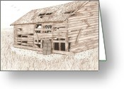 Dilapidated Drawings Greeting Cards - Lees Barn Greeting Card by Pat Price