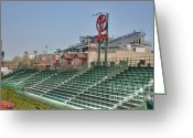 Wrigley Field Greeting Cards - Left field bleachers Greeting Card by David Bearden