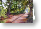 Country Dirt Roads Painting Greeting Cards - Left or Right Greeting Card by Sheila Kinsey