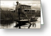 Wrapping Greeting Cards - Leg rowing on Inle Lake Greeting Card by RicardMN Photography