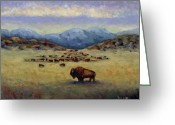 Buffalo Painting Greeting Cards - Legend Greeting Card by Linda Hiller