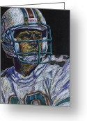 Miami Dolphins Greeting Cards - Legend Greeting Card by Maria Arango