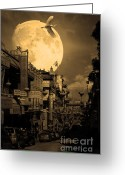 Big Cities Greeting Cards - Legend of The Great White Phoenix of Chinatown . 7D7172 . Sepia Greeting Card by Wingsdomain Art and Photography