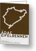 Minimalist Greeting Cards - Legendary Races - 1927 Eifelrennen Greeting Card by Chungkong Art