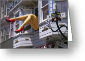 Red Sign Greeting Cards - Legs in window SF Greeting Card by Garry Gay