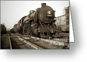 Brewing Greeting Cards - Lehigh Valley Steam Locomotive 431 at Wilkes Barre PA. 1940s Greeting Card by Arthur Miller