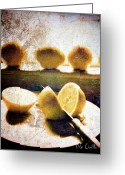 Grunge Greeting Cards - Lemon Among Oranges Greeting Card by Bob Orsillo