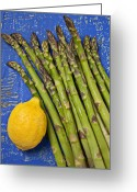 Lemons Greeting Cards - Lemon and asparagus  Greeting Card by Garry Gay