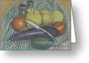 Vegetables Pastels Greeting Cards - Lemon Cucumbers Greeting Card by Carol Wisniewski