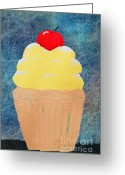 Gift For A Mixed Media Greeting Cards - Lemon Cupcake With A Cherry On Top Greeting Card by Andee Photography