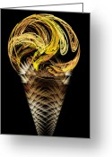 Dessert Digital Art Greeting Cards - Lemon Ice Cream Cone Greeting Card by Andee Photography