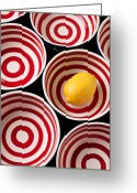 Lemons Greeting Cards - Lemon in red and white bowl  Greeting Card by Garry Gay