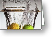 Splashing Greeting Cards - Lemon Square Greeting Card by François Dorothé
