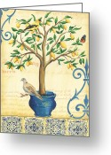 Leaf Painting Greeting Cards - Lemon Tree of Life Greeting Card by Debbie DeWitt