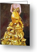 Ball Gown Painting Greeting Cards - Lemon Twist Greeting Card by Jennifer Koach