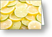 Citrus Fruits Greeting Cards - Lemons and Limes Abstract Greeting Card by James Bo Insogna