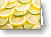 Citrus Fruits Greeting Cards - Lemons and Limes Greeting Card by James Bo Insogna