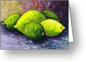 Citrus Fruits Greeting Cards - Lemons and Limes Greeting Card by Kamil Swiatek