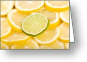Citrus Fruits Greeting Cards - Lemons and One Lime Abstract Greeting Card by James Bo Insogna