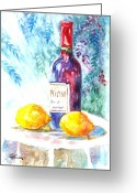 Wine Bottle Prints Greeting Cards - Lemons and Wine Greeting Card by Carol Wisniewski