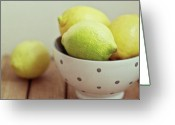 Israel Greeting Cards - Lemons In Bowl Greeting Card by Copyright Anna Nemoy(Xaomena)