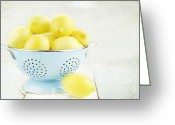 Utensil Greeting Cards - Lemons in Retro Greeting Card by Stephanie Frey