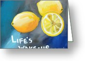 Gray Greeting Cards - Lemons Greeting Card by Linda Woods