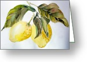 Spice Drawings Greeting Cards - Lemons Greeting Card by Mindy Newman
