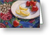 Strawberry Pastels Greeting Cards - Lemons n Berries Greeting Card by L Diane Johnson