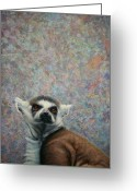 Brown Eyes Greeting Cards - Lemur Greeting Card by James W Johnson