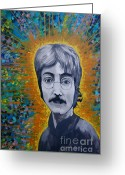 Www.artworkxofmann.com Mixed Media Greeting Cards - Lennon Greeting Card by James Flynn