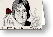Paul Mccartney Drawings Greeting Cards - Lennon Greeting Card by Jason Kasper