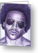 Celebrity Drawings Greeting Cards - Lenny Kravitz Greeting Card by Maria Arango