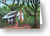 Abandoned House Painting Greeting Cards - Lenoir County Old House Greeting Card by Rebecca Worters