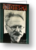 Revolutionaries Greeting Cards - LEON TROTSKY POSTER Mexico City Greeting Card by John  Mitchell